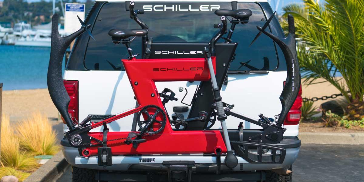 Schiller Bikes können mit gängigem Auto Fahrradträger transportiert werden